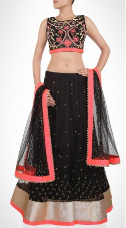 Inestimable Black Net Designer Lehenga Choli With Matching Dupatta SUUDL14416