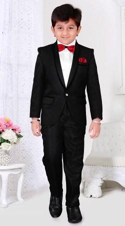Inestimable Black Premium Fabric Kids Boy Tuxedo Coat Pant DT512553