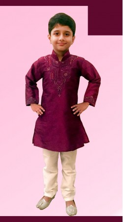 Inestimable Burgundy Dupion Silk Boy Kid Kurta Pajama With Neck Work DT12157