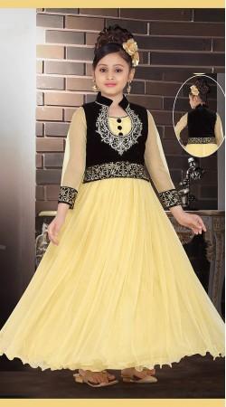 Inestimable Cream Net Black Short Koti Style Designer Kids Gown DT53344