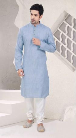 Inestimable Festival Wear Light Blue Cotton Kurta Pajama SI1042