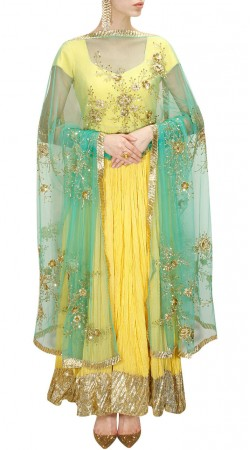 Inestimable Golden Border Yellow Kameez With Contrast Hand Work Dupatta SUMS27317
