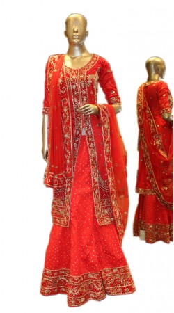 Inestimable Nakshi Work Red Dupion Designer Long Choli Lehenga SD1058