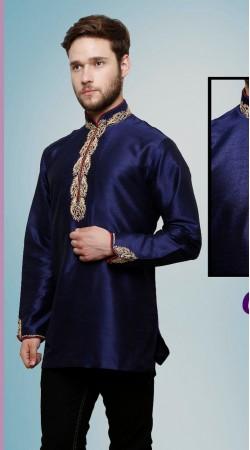 Inestimable Neck Embroidered Blue Dupian Silk Men Short Kurta DTGK259