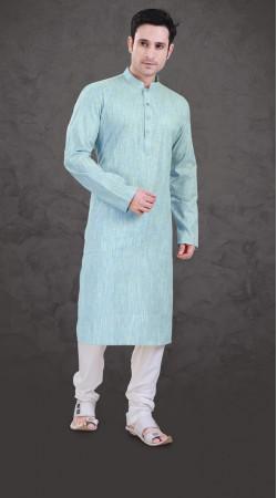 Inestimable Sky Blue Cotton Plain Kurta Payjama For Mens SI0143
