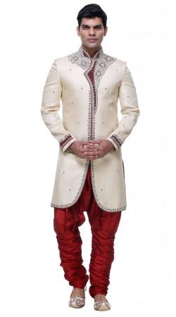 Inestimable White Brocade Mens Jodhpuri Pant Sherwani With Hand Work GR133005