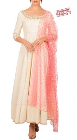 Ivory Anarkali Salwar Kameez With Pink Dupatta BP0434
