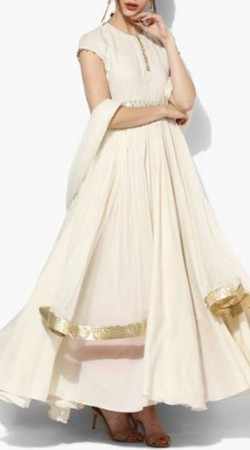 Ivory Cotton Palazzo Anarkali Suit With Dupatta BP0247