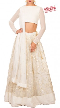 Ivory net Sequins Embroidery Work Lehenga With Crop Top BP2034