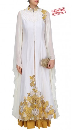 Ivory Silk And Georgette Bell Sleeves Anarkali Suit SUMS28721