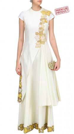 Ivory Silk Designer Salwar Kameez With Floral Work SUMS28521