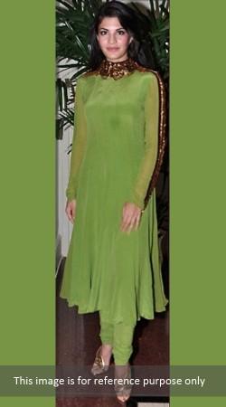 Lime Green Pure Chiffon Replica Churidar Kameez 009