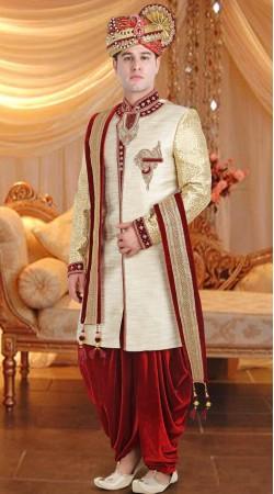 Jute Cream Groom Wedding Sherwani 3FD8413505