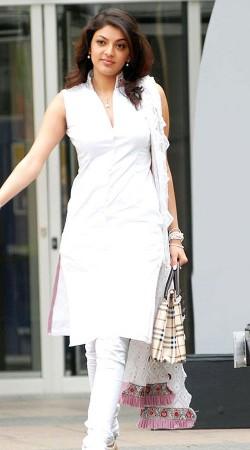 Kajal Aggarwal White Georgette Knee Length Kameez With Churidar BP0419