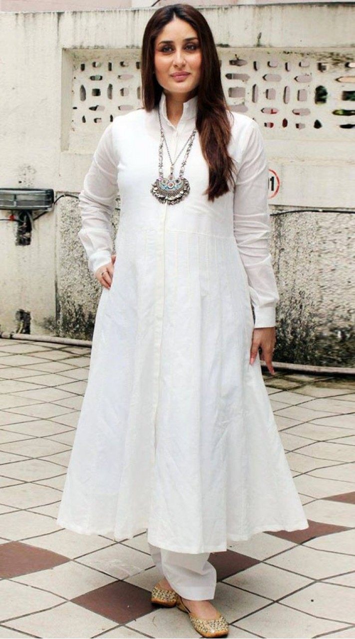 Ihram Kids For Sale Dubai: Kareena Kapoor White Palazzo Anarkali Suit BP0647