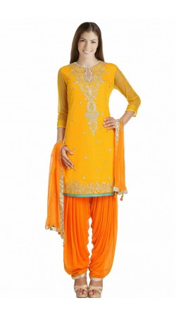 Kasab Work Ice Cream Orange Net Party Wear Salwar Kameez SUMS712