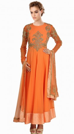Kasab Work Orange Net Readymade Ready Made Salwar Kameez SU17110