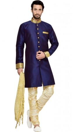 Kheecha Dupion Blue Men Indo Western Sherwani GR144809