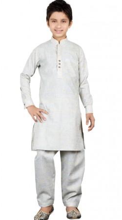 Kid Boy Linen Cotton Pathani Kurta Pajama GR24113