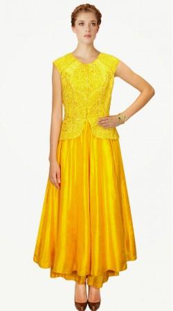 Koti Style Embroidered Yellow Silk Designer Suit With Palazzo Pant SUMA1409