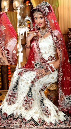 L013298 Red White Bridal Lehenga Choli