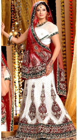 L013299 Red White Bridal Lehenga Choli