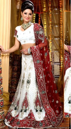 L013300 Red White Bridal Lehenga Choli