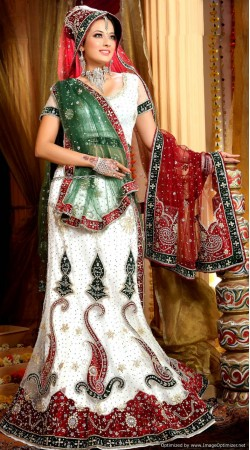 L013301 Red White Bridal Lehenga Choli