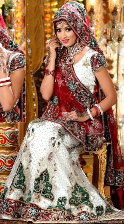 L013302 Red White Bridal Lehenga Choli