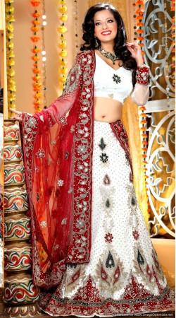 L013303 Red White Bridal Lehenga Choli