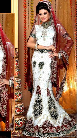 L013304 Maroon White Bridal Lehenga Choli