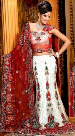 L013306 Red White Bridal Lehenga Choli