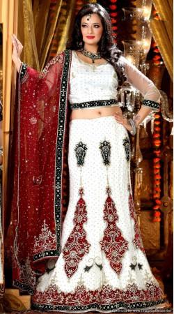 L013307 Red White Bridal Lehenga Choli