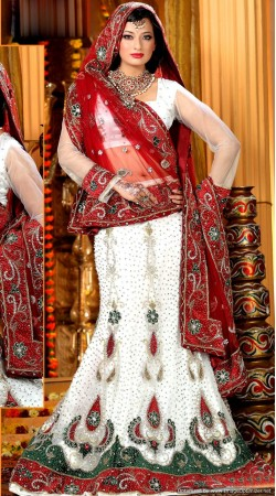 L013308 Red White Bridal Lehenga Choli