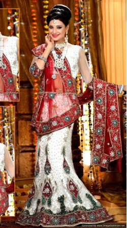 L013309 Red White Bridal Lehenga Choli