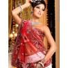 L013310 Red White Bridal Lehenga Choli