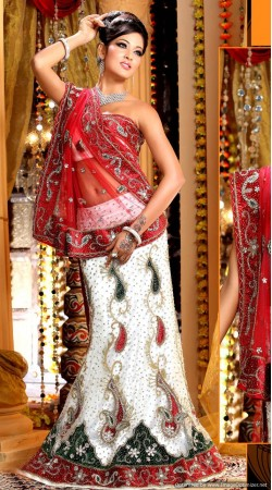 L013310 Red White Bridal Lehenga Choli