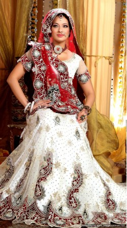 L013311 Red White Bridal Lehenga Choli