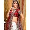 L013312 Red White Bridal Lehenga Choli