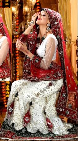 L013314 Red White Bridal Lehenga Choli