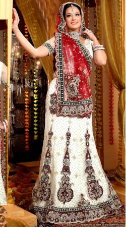 L013315 Red White Bridal Lehenga Choli