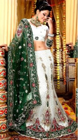 L013316 Green White Bridal Lehenga Choli