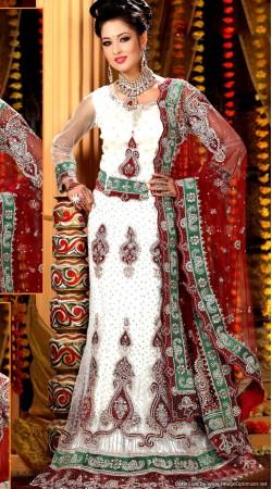 L013317 Red White Bridal Lehenga Choli