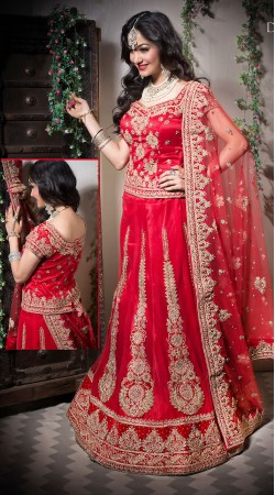Latest Designer Red Net Semi Bridal Lehenga Choli LD003405