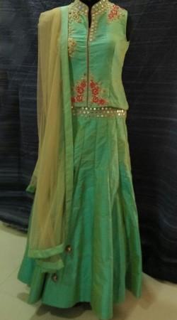 Latest Fashion Sea Green Raw Silk Mirror And Resham Work Lehenga SMEXD3502