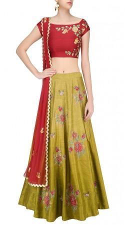 Latest Trend Mehendi Green Silk Floral Work Lehenga Choli SUUDL20319