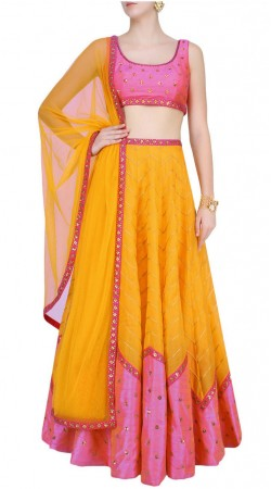 Latest Trend Silk Ice Cream Orange Crop Top Lehenga With Dupatta SUUDL16718
