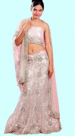 LD0301 Mesmerizing Light Pink Net Lehenga Choli