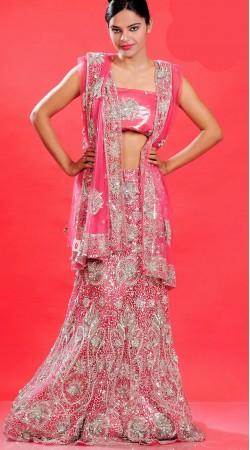 LD0701 Flamboyant Pink Net Lehenga Choli
