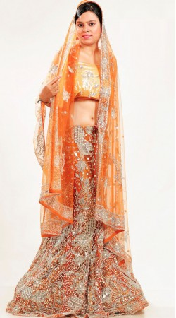LD1301 Adorable Light Orange Net Lehenga Choli
